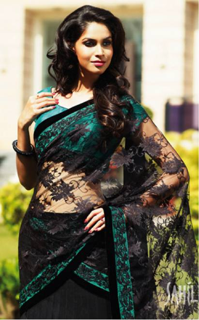 dark-emerald-teal-saree