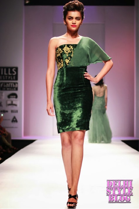 mixed-luxe-fabrics-green-velvet-dress